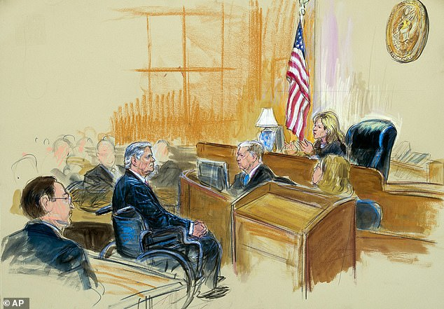 A courtroom sketch shows Paul Manafort listening to Judge Amy Berman Jackson in the U.S. District Courtroom during his sentencing hearing, in Washington, Wednesday, March 13, 2019