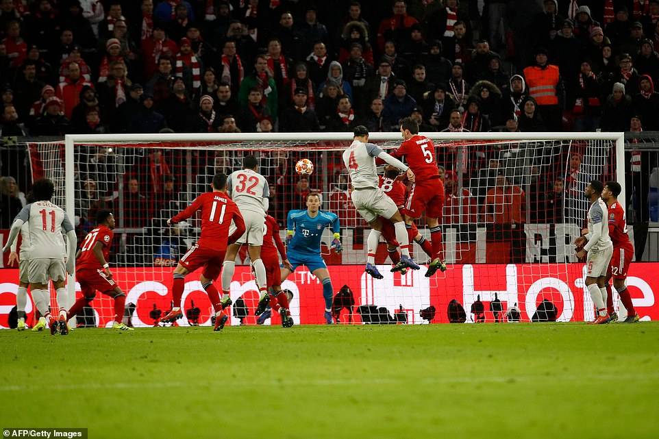 The Dutch defender nodded the ball to Manuel Neuer's left to give Liverpool two crucial away goals at the Allianz Arena