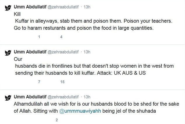 In other tweets (above), Duman called for violence against 'kuffars', or non-Muslims