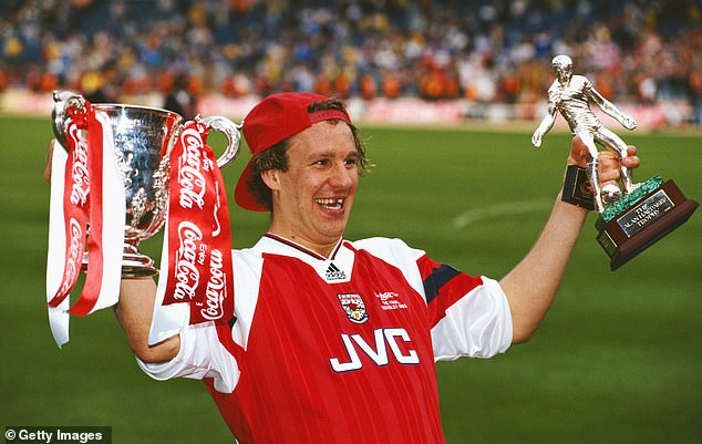 Paul Merson (above in 1993) has been battling addiction which led to the collapse of his first marriage