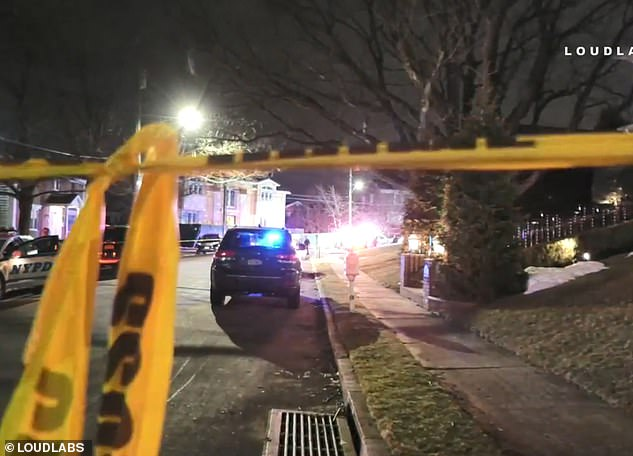 Police responding to a 911 call about an assault in progress just after 9.15pm arrived to find Cali with six gunshot wounds to the torso. He was pronounced dead at a hospital soon after. (Above, the scene of the crime)