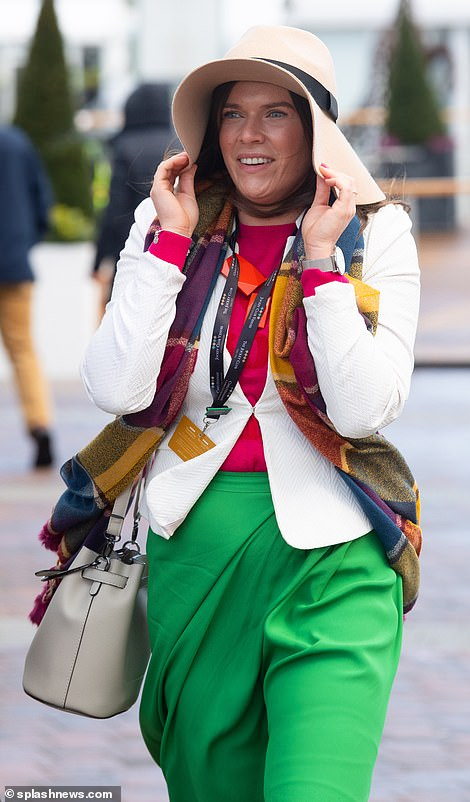 This colourful lady sported a pair of bold green trousers