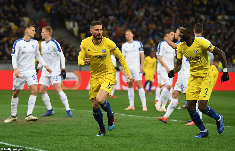 The Frenchman runs off in celebration and is joined by team-mate Antonio Rudiger after striking early in the second leg