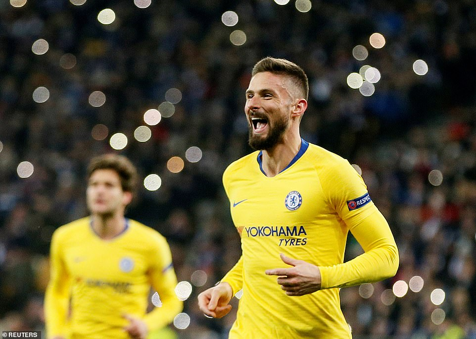 Giroud wheels away in celebration after netting the hat-trick goal for his ninth in nine appearances in this year's competition