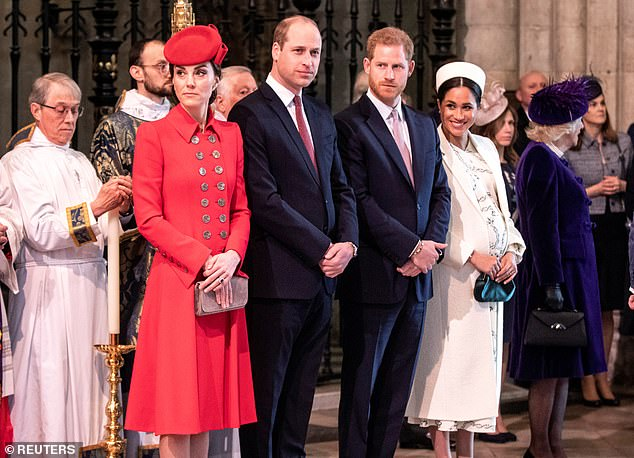 A split in the family: Kate, William, Harry and Meghan. This week, both women put on an impressive show of companionship and friendliness at the Commonwealth Day service