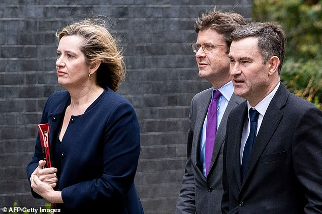 Amber Rudd (left) arrived at No 10 Downing Street with Greg Clark (centre) and Greg Clark (right) yesterday hours after they abstained in a Commons vote on No Deal