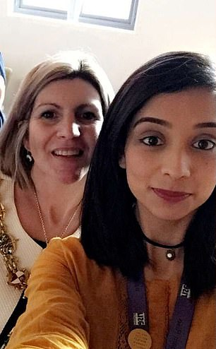 Norsheen Akhtar (right with then-Mayor of Rotherham Lyndsay Pitchley), 32, has been given managerial responsibility for child sexual exploitation programmes run by Rotherham Rise