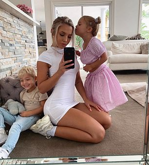 'She's trying to move to LA or America': The Queensland-based model, who is friends with Khloe and Kylie, has already discussed plans to move to Los Angeles with her entire family (pictured: Tammy in March 2019 with her two children)