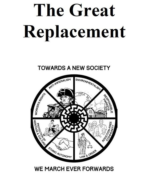 Tarrant published an online manifesto detailing his plans to carry out a massacre hours before the attack. He called the 73-page document: 'The Great Replacement'