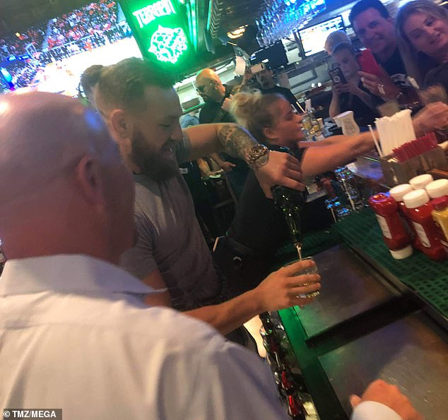 The controversial UFC star and his entourage piled into Miller's Ale House in Hollywood