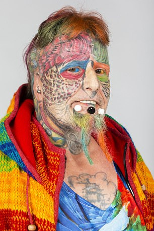 Ted Parrotman has chosen to modify his appearance to resemble that of his beloved parrots