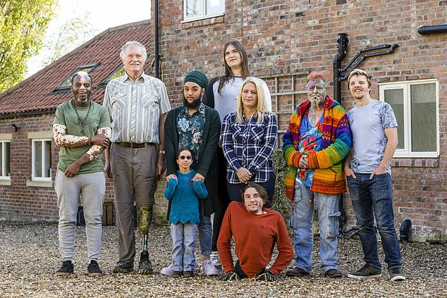 Ted Parrotman, Bashir Aziz, Harnaam Kaur, Kristin Riley (front), Aly Stosz, Rowdy Burton (front), Rachael Reynolds, Dan Cooper, Lucas Hayward. With varying differences and conditions the nine inhabitants of The House of Extraordinary People will live together in Yorkshire for 10 days