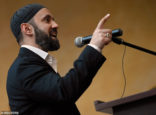 Imam Khalid Latif, Muslim Chaplain at NYU speaks at a vigil held at NYU Kimmel Center to mourn for the victims of the Christchurch mosque attack in New Zealand