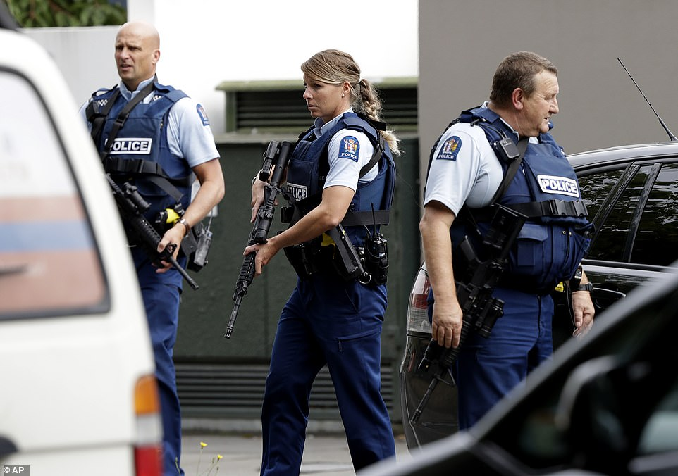 The gunmen live-streamed the mass shooting inside the Al Noor Mosque, which happened at 1.30pm as Friday prayers were underway. Police are pictured outside the mosque on Friday