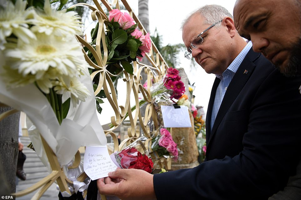 'Its important to be here standing with you because as Prime Minister Ardern said yesterday, an attack against one is an attack against all of us,' Mr Morrison said