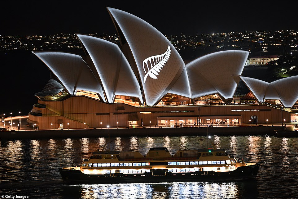 Standing in solidarity with Muslim communities world-wide, The Sydney Opera House was lit up with a silver fern of New Zealand on Saturday night