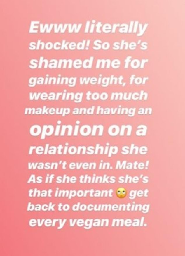 Disgusted: Sharing the 'shocking' comment to her Instagram stories, Megan said: 'Ewww literally shocked!'