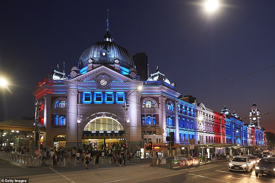 Melbourne's iconic Flinders Street Station was lit up in the colours of the New Zealand flag in a show of solidarity