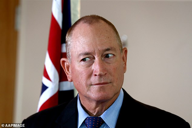 Senator Anning (pictured) took a swipe at a left-wing activist at a protest rally after the 17-year-old cracked an egg on his head