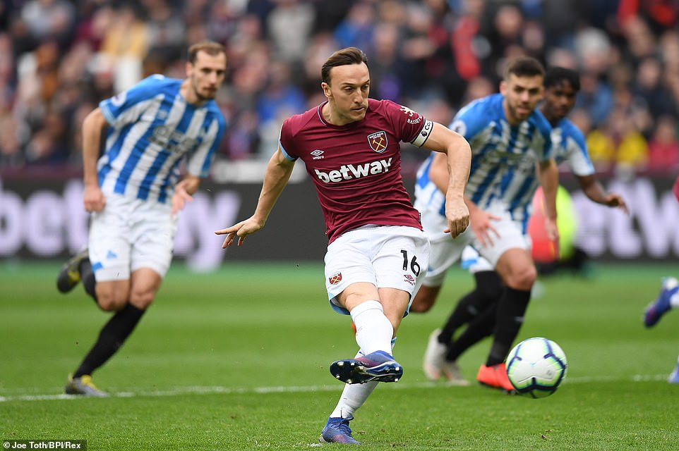 West Ham captain Mark Noble showed excellent composure to put his side ahead from the penalty spot