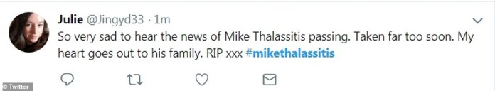One Twitter user said that the former Love Island star had been 'taken far too soon' as she tweeted her respects to the celebrity