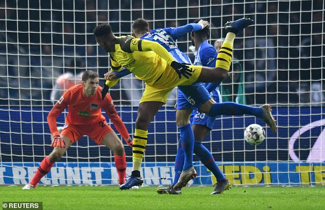 Dan Axel Zagadou (centre) drew Dortmund level with a goal shortly after the half-time break
