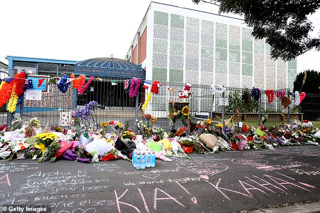 The footpath was flooded with heartfelt messages written in chalk, with some reading 'Kia Kaha,' meaning,' Stay strong'