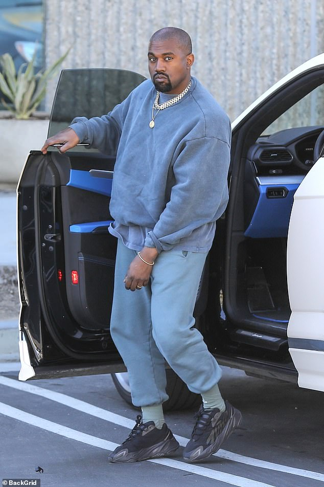 Work time: Kanye West arrived at his studio in Calabasas looking casual but trendy