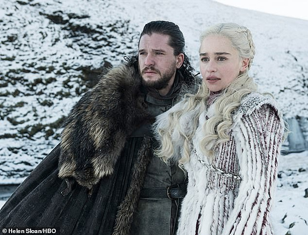 The end: Emilia's comments come just a month before the premiere of the eighth and final series on April 14 (Kit Harrington and Emilia Clarke pictured in Game of Thrones)
