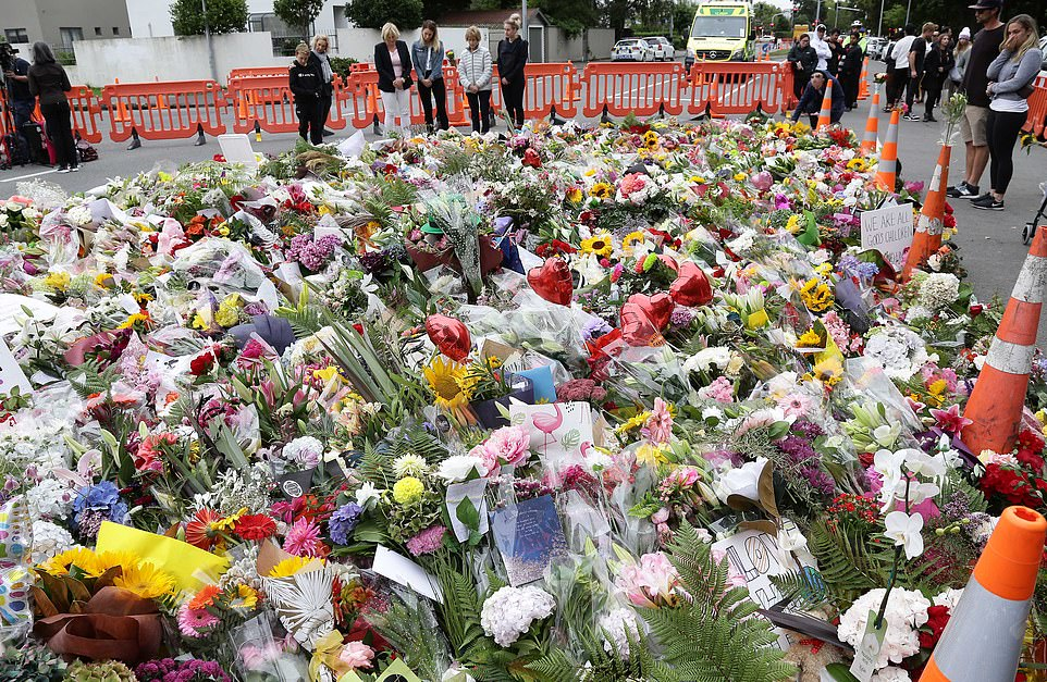 A large pile of flowers and cards has formed outside theAl Noor mosque. On Friday white supremacist Brenton Tarrant is said to have filmed a sickening attack on Facebook in which he allegedly killed dozens of Muslims during Friday prayers using four guns at two mosques in Christchurch