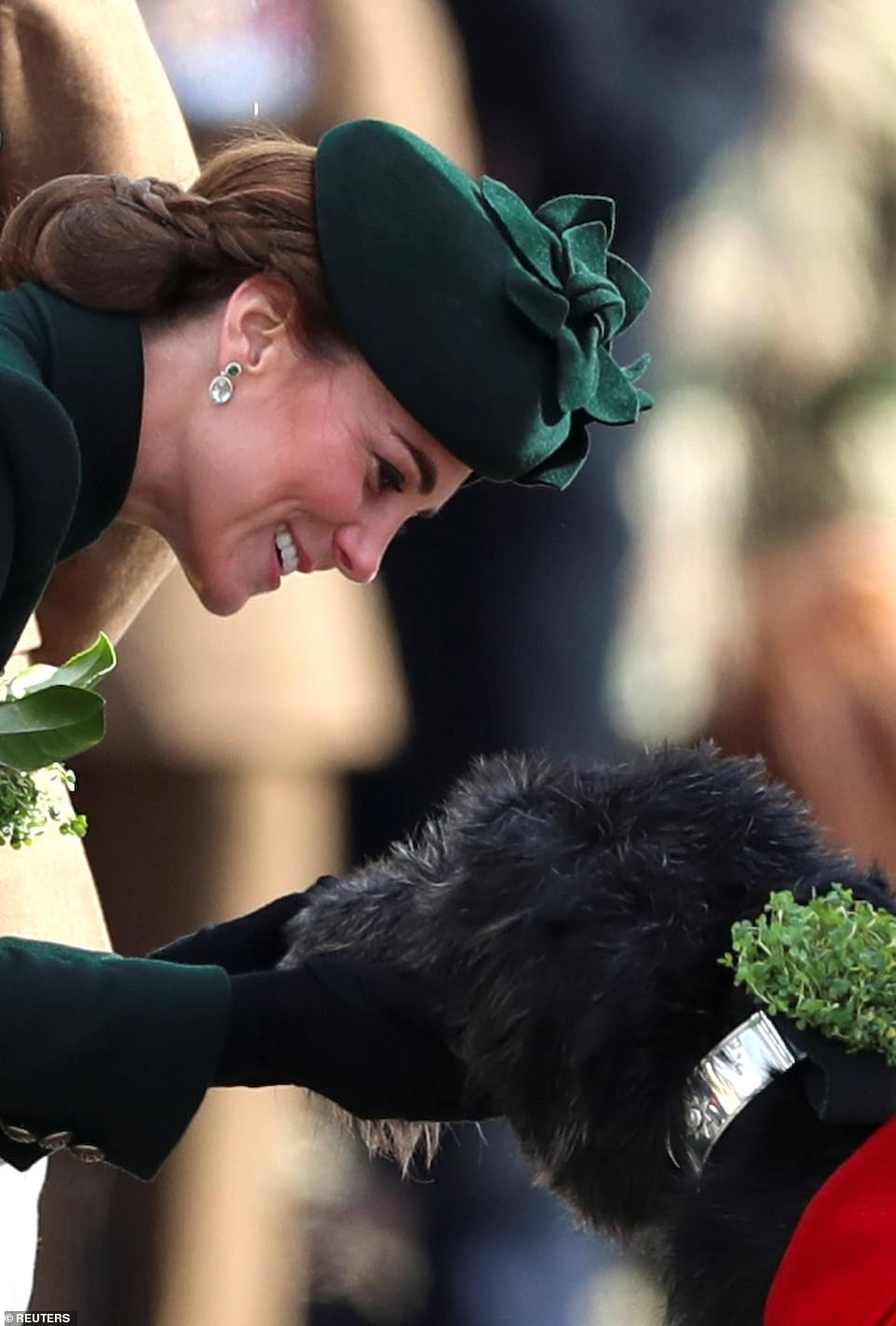 Kate opted for her signature beauty look of rosy cheeks and a nude lip. The couple will later be toasted by the longest-serving Guardsman at the Guardsman's Lunch, and the duchess will be thanked for presenting the shamrock