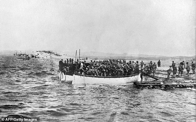 The Gallipoli reference is also particularly touchy, given that is the basis of the Anzac Day national public holiday in Australia and New Zealand (pictured are Australian troops in August 1915 disembarking on the Gallipoli peninsula during the nine-month Dardanelles campaign)
