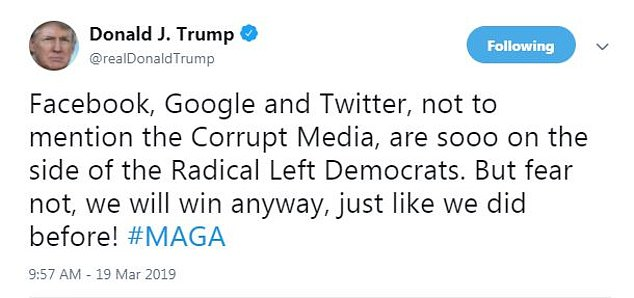 The president also mentioned Google earlier in the day, naming the search giant as a company that's on the side of the Radical Left Democrats