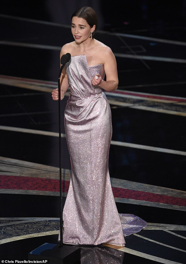 Pushing on: She revealed that she had been undertaking exercise to relieve the stress of her newfound fame but soon started to feel a 'bad headache' and fatigue', yet she forced herself to continue the gruelling workout (pictured at the Oscars in February 2019)