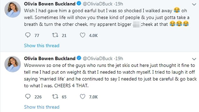 Outrage:Olivia admitted she was left mortified by his cutting comments as she spiraled into a furious social media tirade