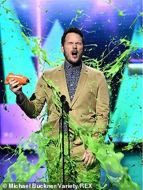 Chris Pratt gets slimed as he accepts his Favorite Butt Kicker award
