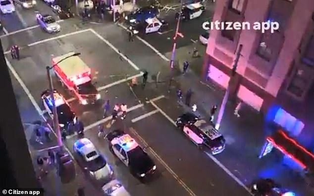 Die Polizei in San Francisco reagiert auf Berichte von mehreren Opfern bei einem Shooting in der Filmore Street am späten Samstag. Amateurvideos, die auf Social Media gepostet werden, zeigen Einsatzfahrzeuge vor Ort