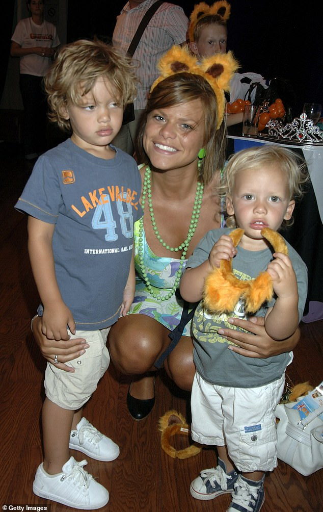 Doting mother: The TV personality shared her boys Bobby and Freddy, 14, with Jeff Brazier, 39 (pictured in July 2006)