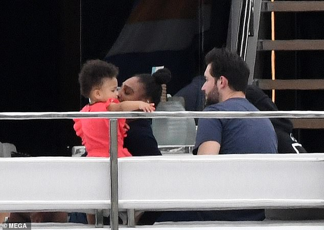 Mummy duties:Serena Williams made sure she recovered in style as she joined her husband Alexis Ohanian and 18-month-old daughter, Alexis Olympia, on a superyacht tour around Miami Beach, Florida, on Sunday