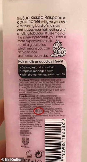 But it also contains PEG 150 Distearate (circled), which is linked to many different types of cancer