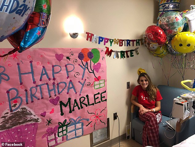 For her eighteenth birthday, Pincus raisedmore than $20,000 for the Leukemia and Lymphoma Society. Pictured: Pincus in the hospital on her birthday