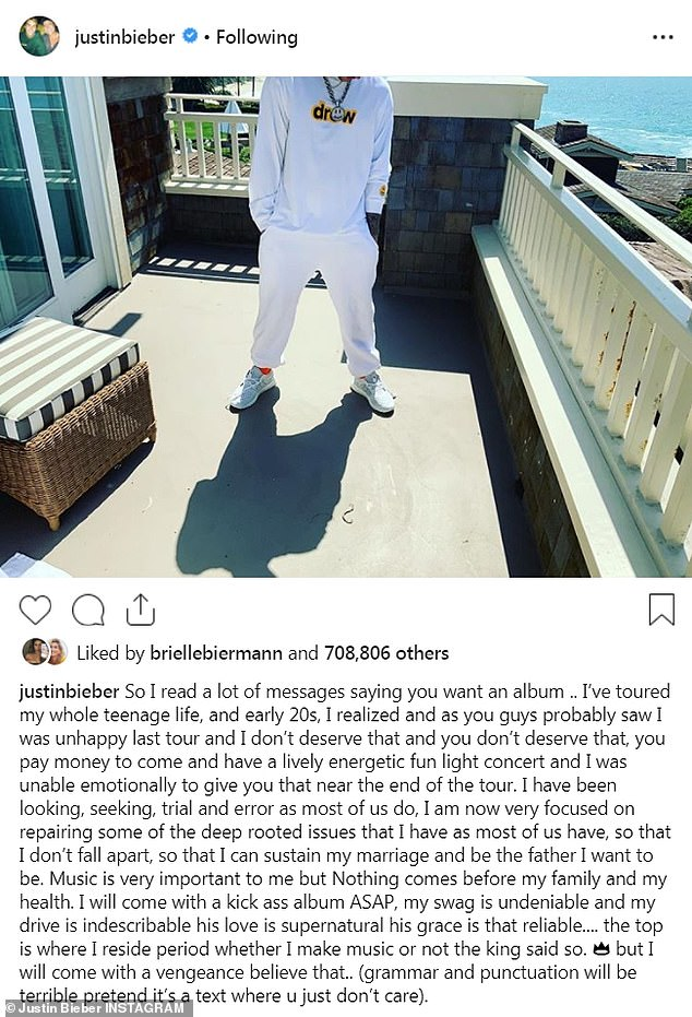 The 25-year-old singer took Instagram on Tuesday to share on a photo of his head cropped off with an emotional length caption.
