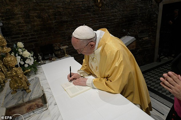 Pope Francis was in Loreto to sign a document on Monday during his pastoral visit at Santuario della Santa Casa