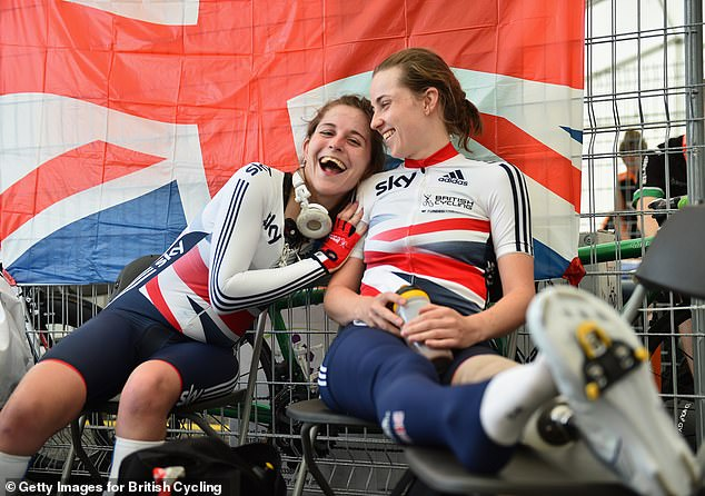 Ms Dines, pictured with para-cyclist Elizabeth Saul, said: 'Having a vagina means having pain so maybe being a cyclist with a vagina means pain with a bit more pain added on top'