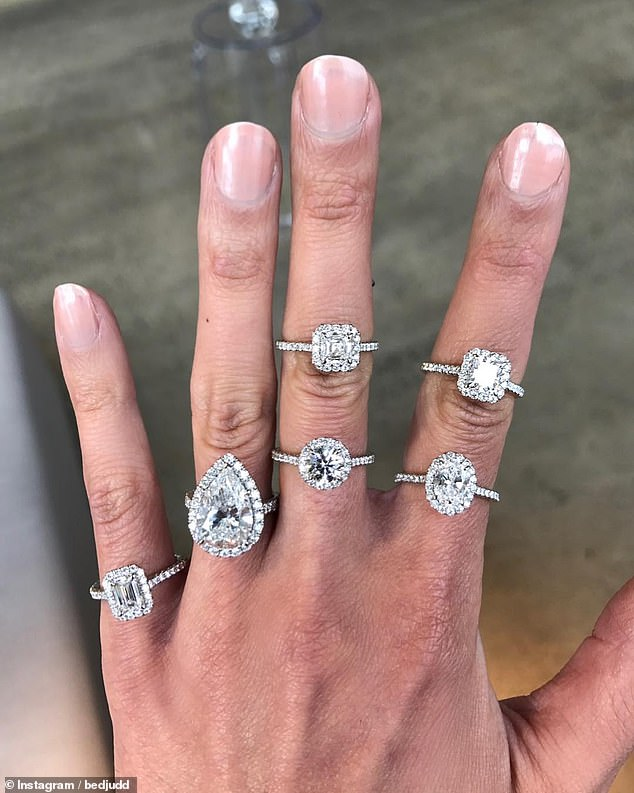 Dripping in diamonds! She recently modelled the six-ring collection on her lean and long fingers in a recent Instagram snap