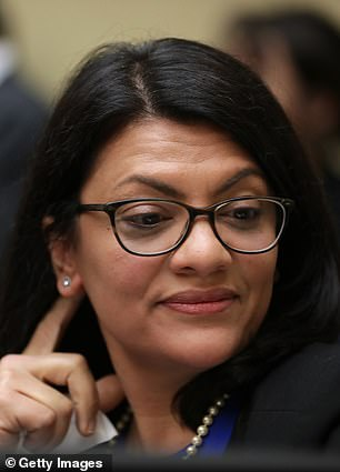 Rep. Rashida Tlaib, pictured, posted a picture of a 'hateful and bullying' note left on her office door addressed to her colleague Ilhan Omar accusing her of 'jihad against the Jews'
