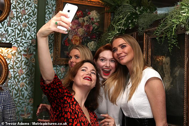 Say cheese: Donna, Eleanor and Jodie struck a pose as Jasmine prepared to take a selfie