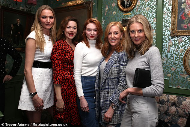 Girl squad: (L-R) Jodie posed with guests including Jasmine Guinness, Eleanor, Sarah Jane Mee and Donna Air at the beauty launch