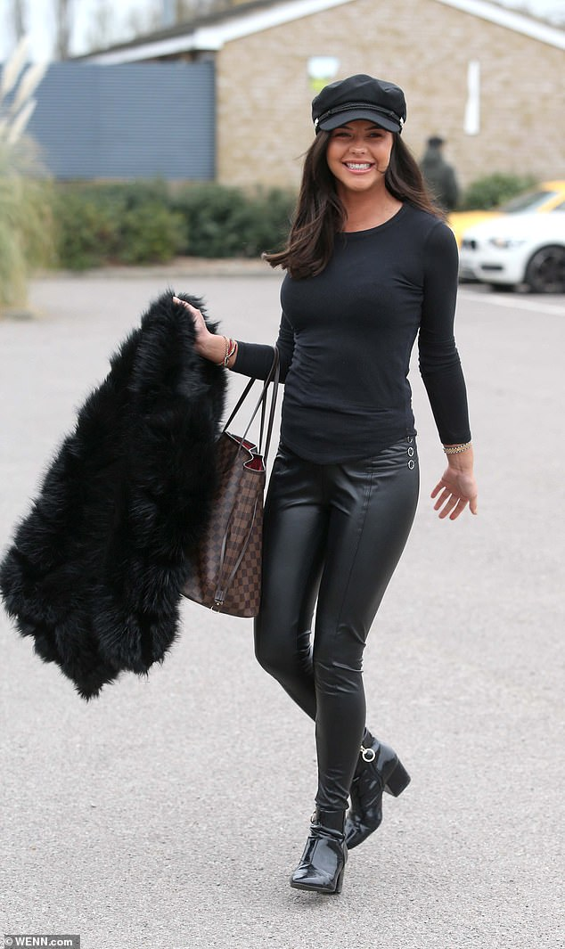 Amazing:Highlighting her slender physique in all-black, Shelby was in great spirits as she headed into the stadium