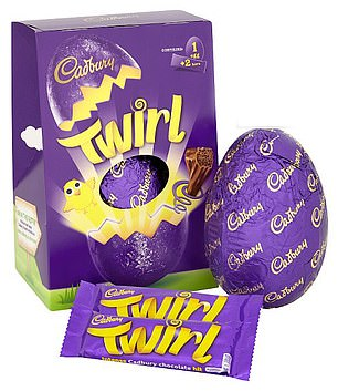 Cadbury Twirl also contains more than three-quarters of a woman's daily recommended amount at1,514kcals